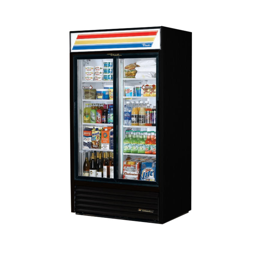 True GDM-37 Black Refrigerated Sliding Glass Door Merchandiser - 37 Cu. Ft.