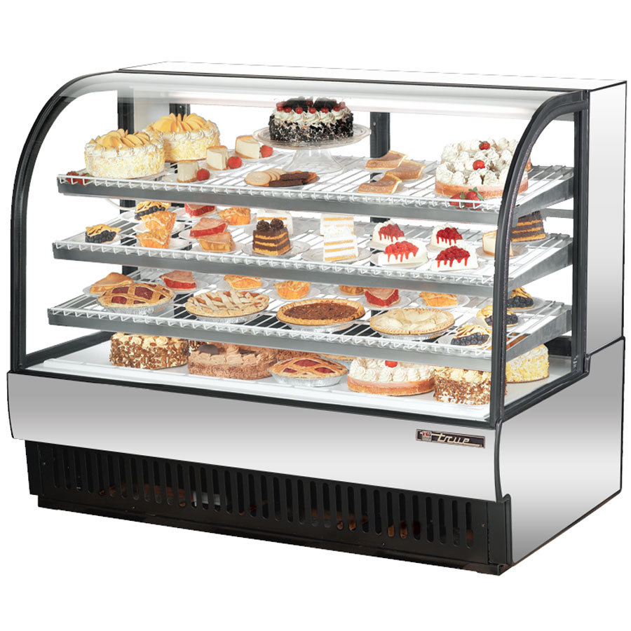 "True TCGR-59 59"" Stainless Steel Curved Glass Refrigerated Bakery Display Case - 32.5 Cu. Ft."