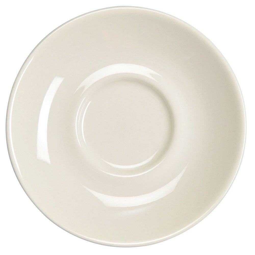 "Homer Laughlin 28400 5 1/2"" Ivory (American White) Kent China Saucer - 36/Case"