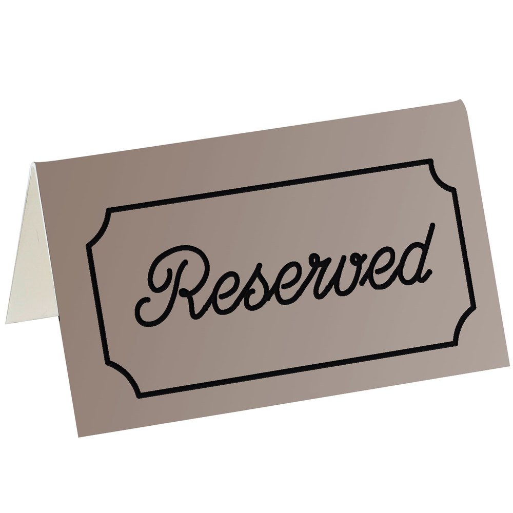 "Cal-Mil 273-11 5"" x 3"" Brown/Black Double-Sided ""Reserved"" Tent Sign"