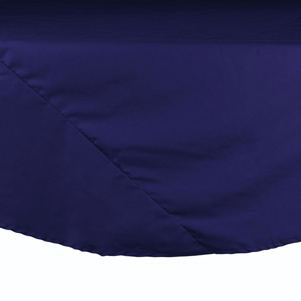 "120"" Navy Blue Round Hemmed Polyspun Cloth Table Cover"