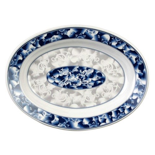 "Thunder Group 2113DL Blue Dragon 13"" x 9 3/4"" Oval Melamine Deep Platter - 12/Pack"