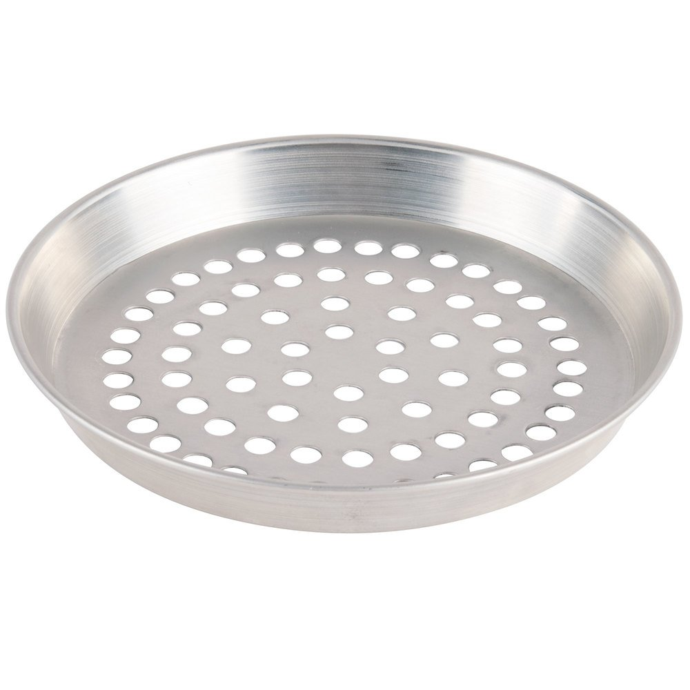"American Metalcraft ADEP6SP 6"" x 1"" Super Perforated Standard Weight Aluminum Tapered / Nesting Deep Dish Pizza Pan"