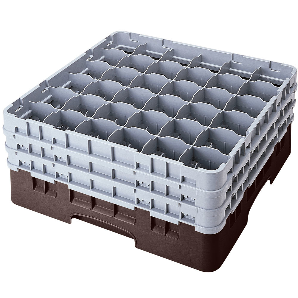 "Cambro 36S958167 Brown Camrack Customizable 36 Compartment 10 1/8"" Glass Rack"