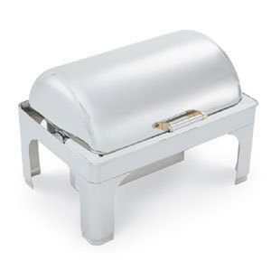 Vollrath 48755 9 Qt. Silverplated New York, New York Retractable Dripless Chafer Full Size with Brass Trim