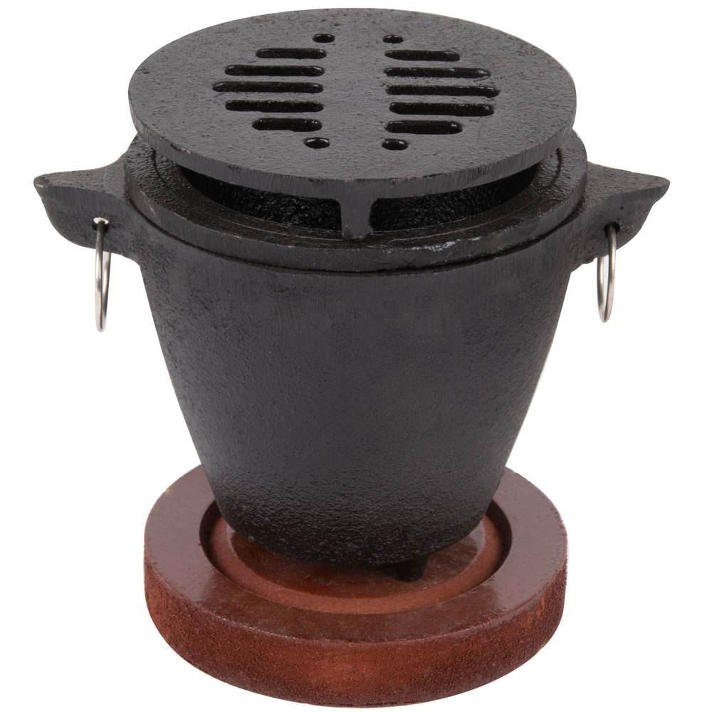 Hibachi Set With Cast Iron Grill Wooden Base And Fuel Holder