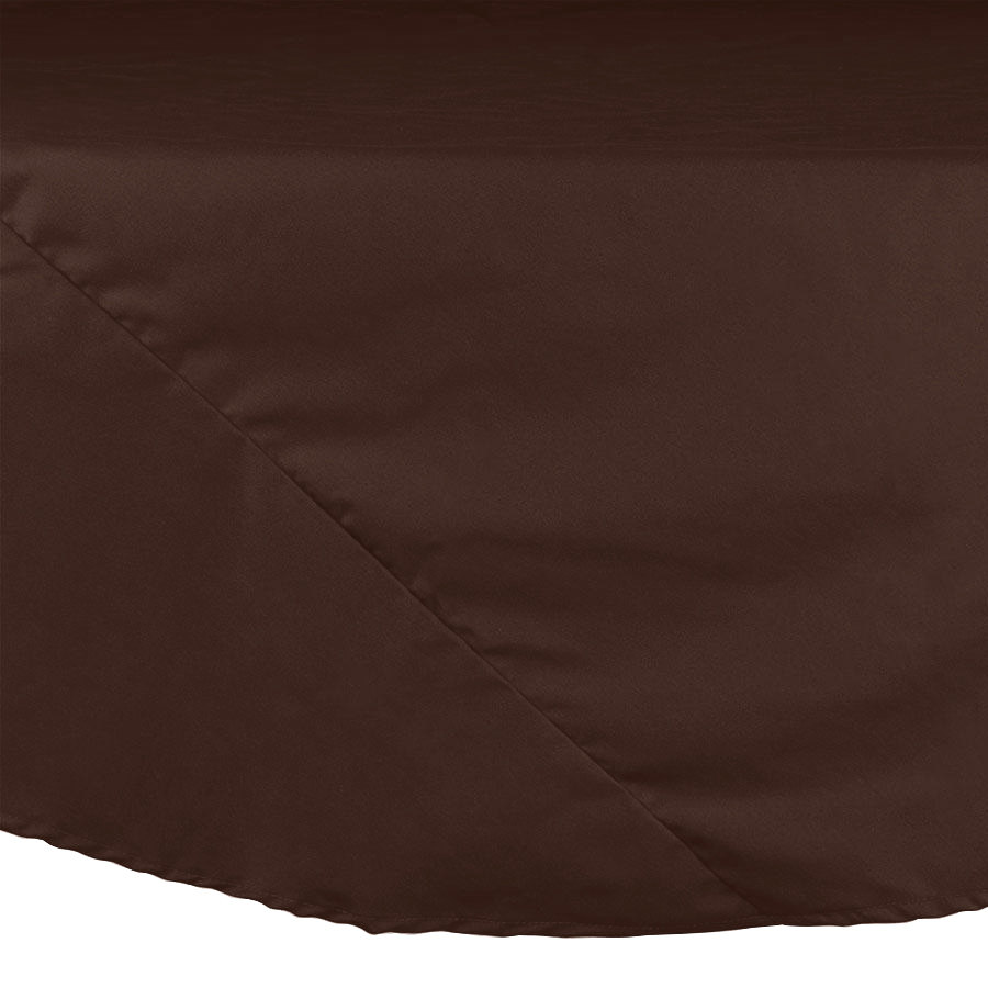 "132"" Brown Round Hemmed Polyspun Cloth Table Cover"