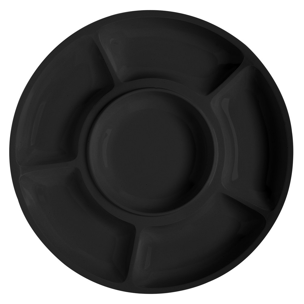 "GET APS -6-BK Milano 14"" Black Round 6 Compartment Plate - 12 / Pack"
