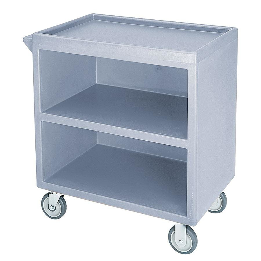 "Cambro BC330401 Slate Blue Three Shelf Service Cart with Three Enclosed Sides - 33 1/8"" x 20"" x 34 5/8"""