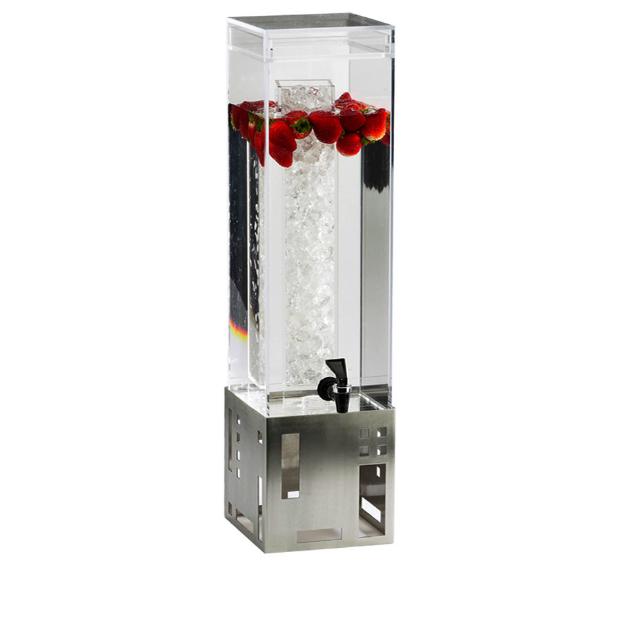 Cal Mil 1602-1-55 1.5 Gallon Stainless Steel Square Beverage Dispenser with Ice Chamber