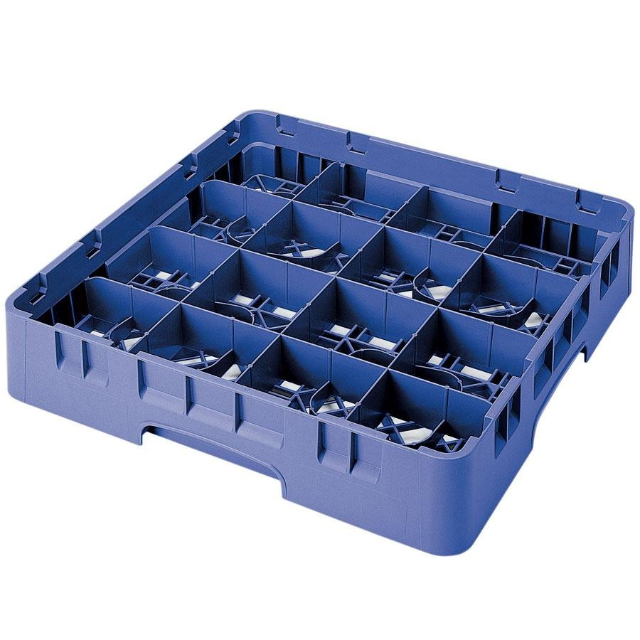 "Cambro 16S900168 Camrack 9 3/8"" High Blue 16 Compartment Glass Rack"