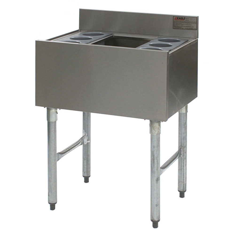 "Eagle Group B3CT-22-7 36"" Underbar Cocktail / Ice Bin with Post-Mix Cold Plate and Eight Bottle Holders"