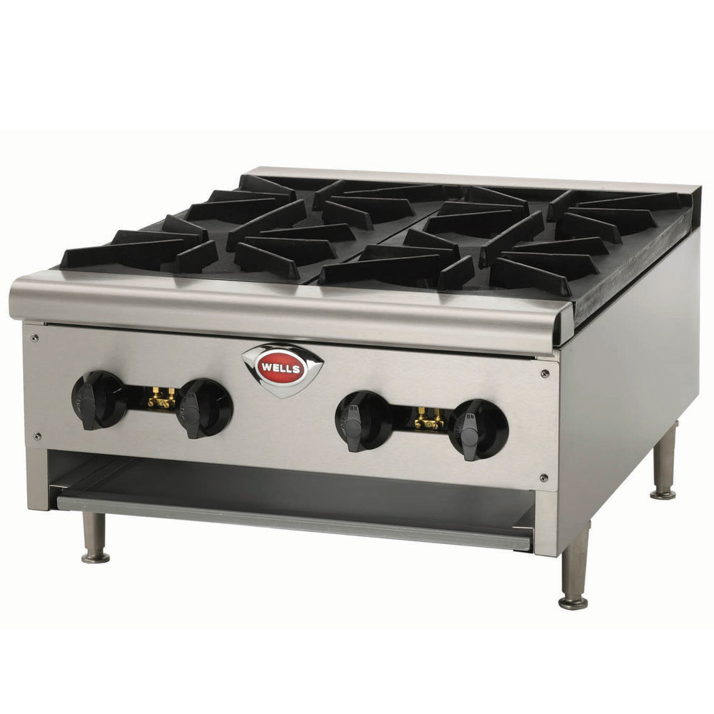 wells hdhp2430g natural gas heavy duty 24 inch four burner countertop hot plate