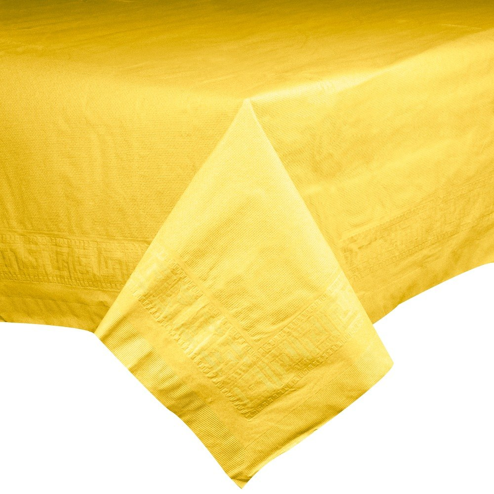 "Hoffmaster 220640 54"" x 108"" Cellutex Sun Yellow Tissue / Poly Paper Table Cover - 25/Case"