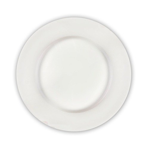 "CAC RCN-27 Clinton 18"" Bright White Rolled Edge Round Porcelain Plate - 2/Case"