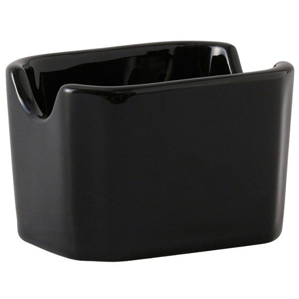 Tuxton BBQ-034 DuraTux Black 3 1/2 inch Sugar Packet Holder 12 / Case