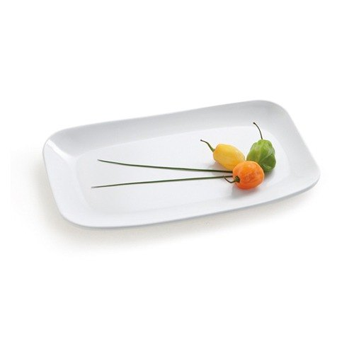 GET CS-6104-W 9 3/4 inch x 5 5/8 inch White Siciliano Rectangular Platter - 12 / Case