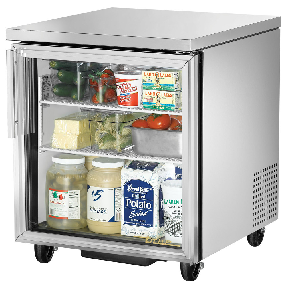 "True TUC-27G-HC-LD 27"" Glass Door Undercounter Refrigerator"