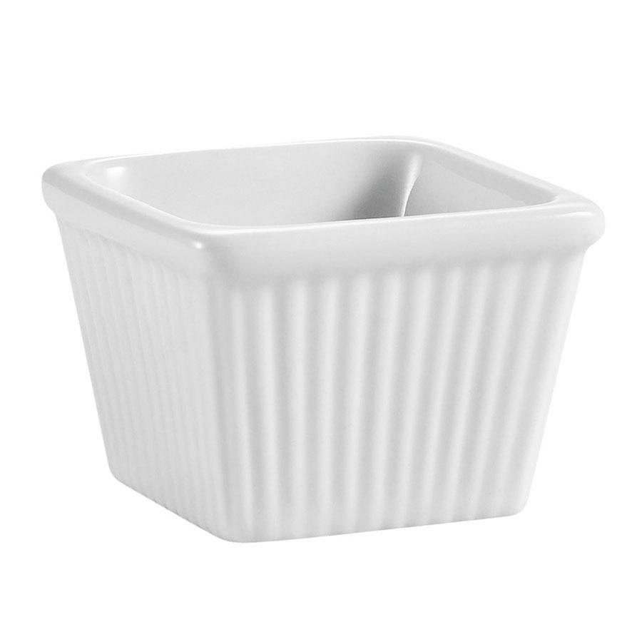 CAC RKF-SQ3 3 oz. White China Square Fluted Ramekin - 48/Case