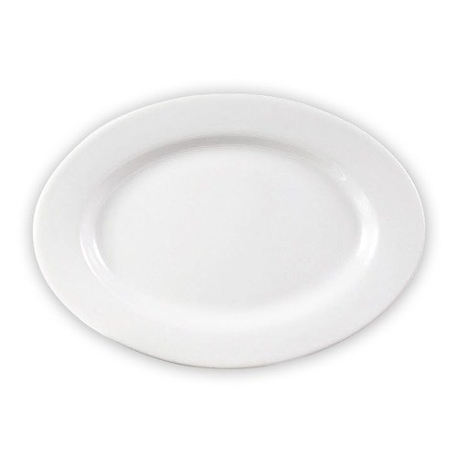 "CAC RCN-95 25"" x 16 1/4"" Clinton Bright White Porcelain Rolled Edge Oval Platter - 2/Case"