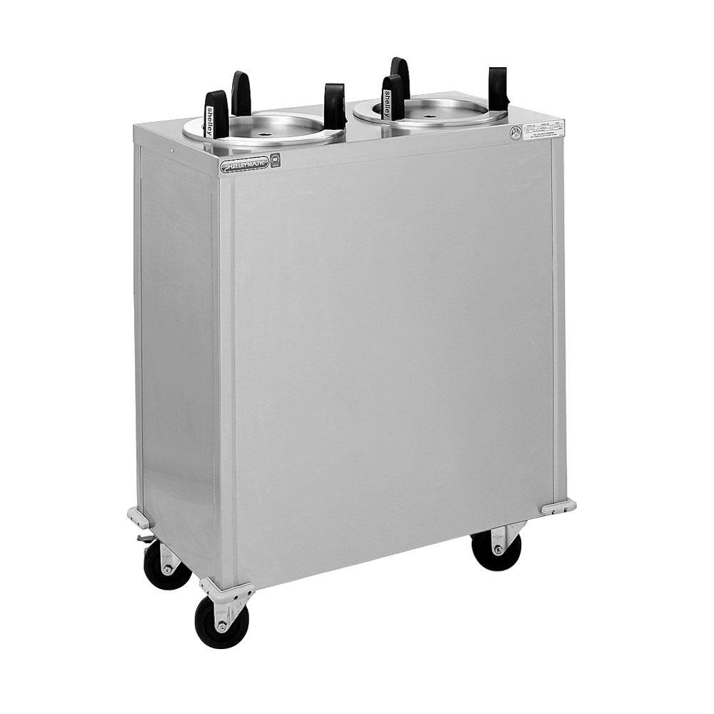 "Delfield CAB2-913QT Quick Temp Mobile Enclosed Two Stack Heated Dish Dispenser / Warmer for 8 1/8"" to 9 1/8"" Dishes - 120V"