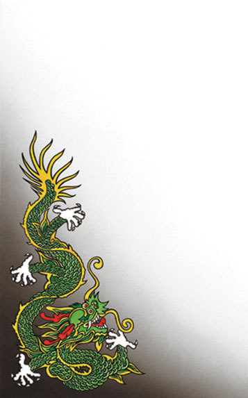 "8 1/2"" x 14"" Menu Paper - Asian Themed Dragon Design Cover - 100/Pack"