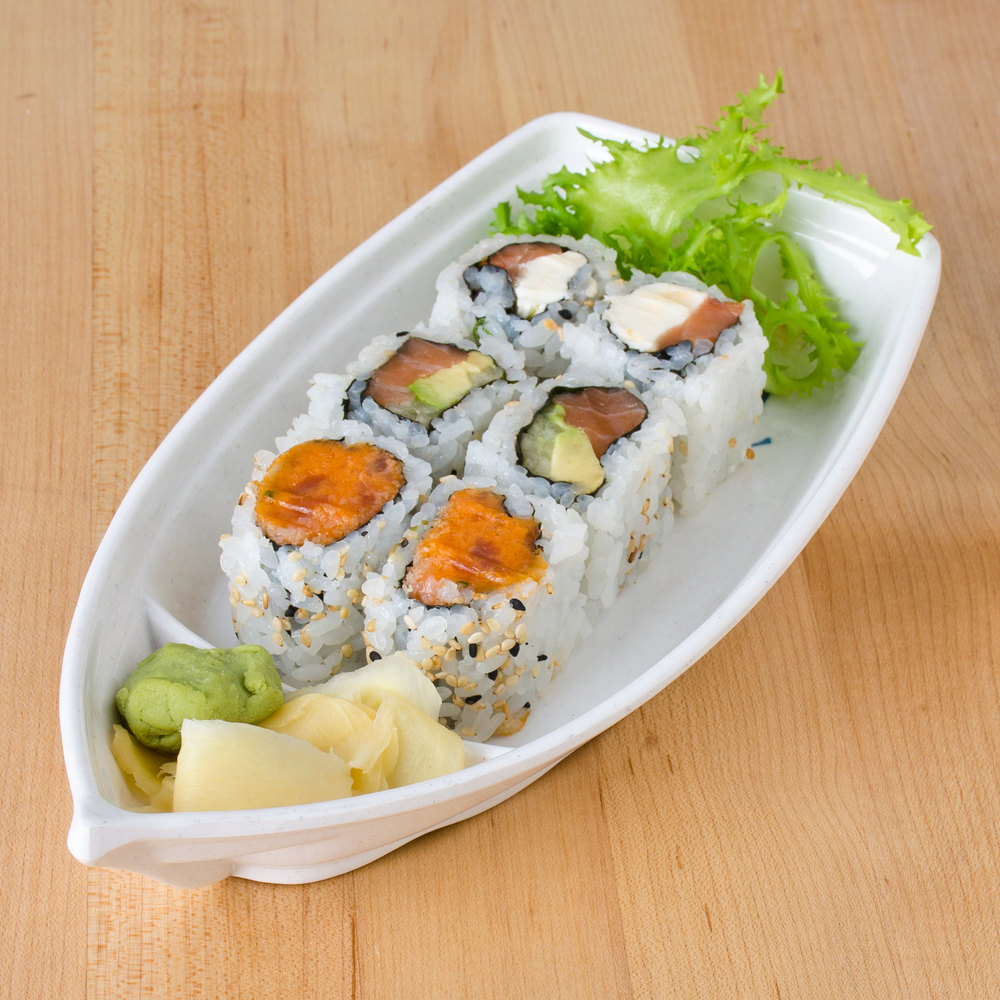 Thunder Group 8004BB Blue Bamboo 13 oz. Melamine Sushi Boat - 12/Case