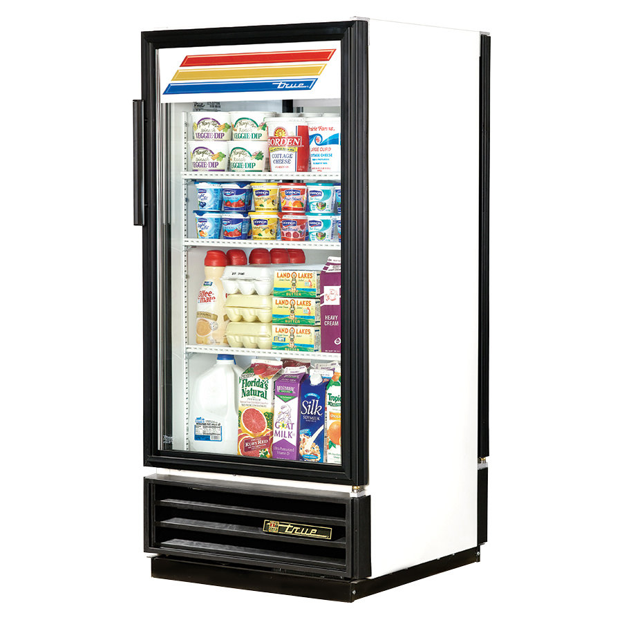 True GDM-10PT White Pass Through Glass Door Merchandiser - 10 Cu. Ft.