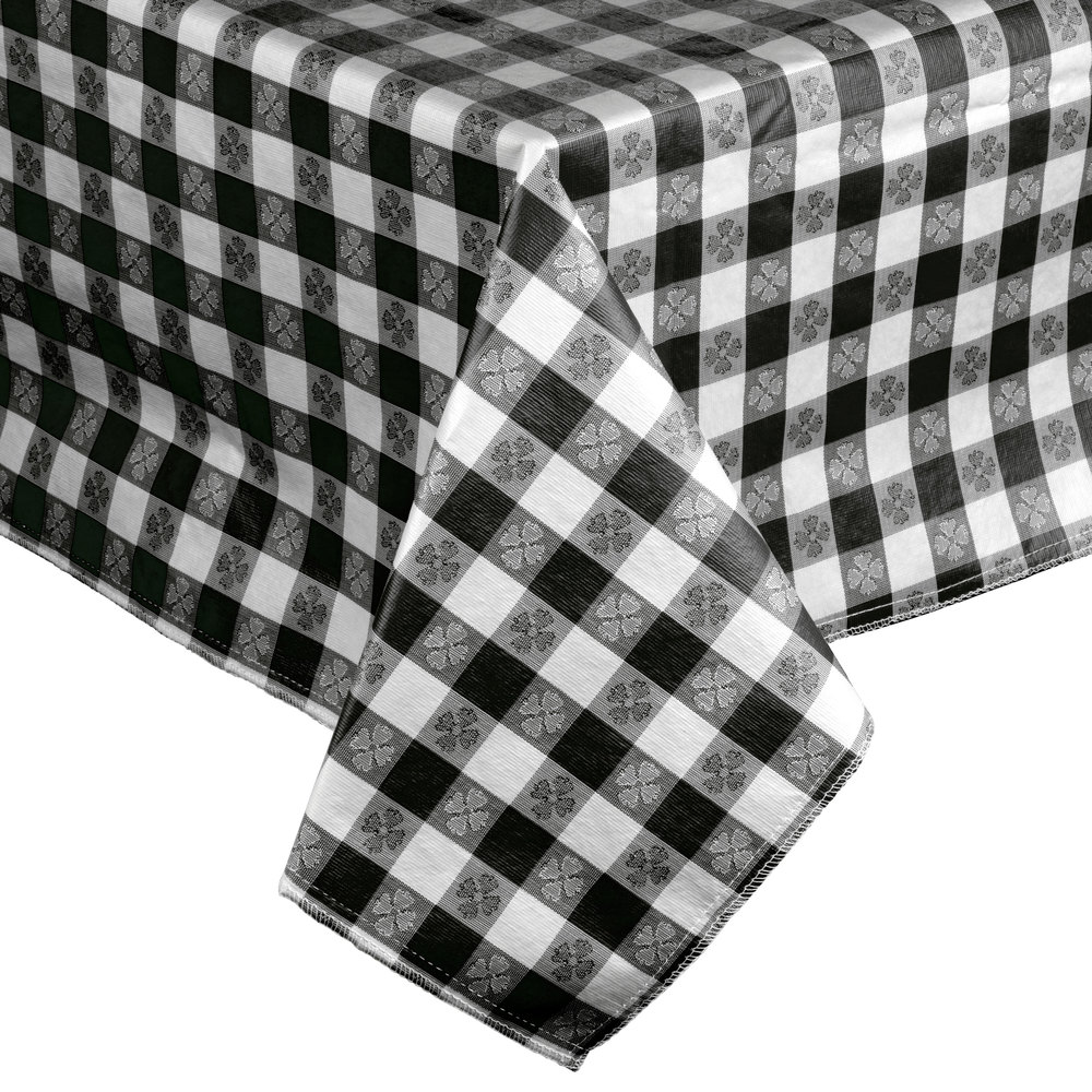 52 Quot X 52 Quot Black Checkered Vinyl Table Cover With Flannel Back