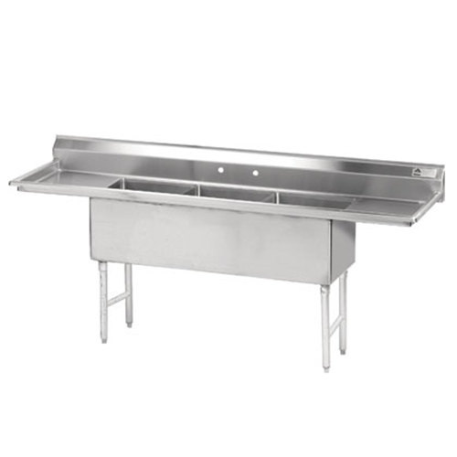 Advance Tabco FS-3-1824-18RL Spec Line Fabricated Three Compartment Pot Sink with Two Drainboards - 90""