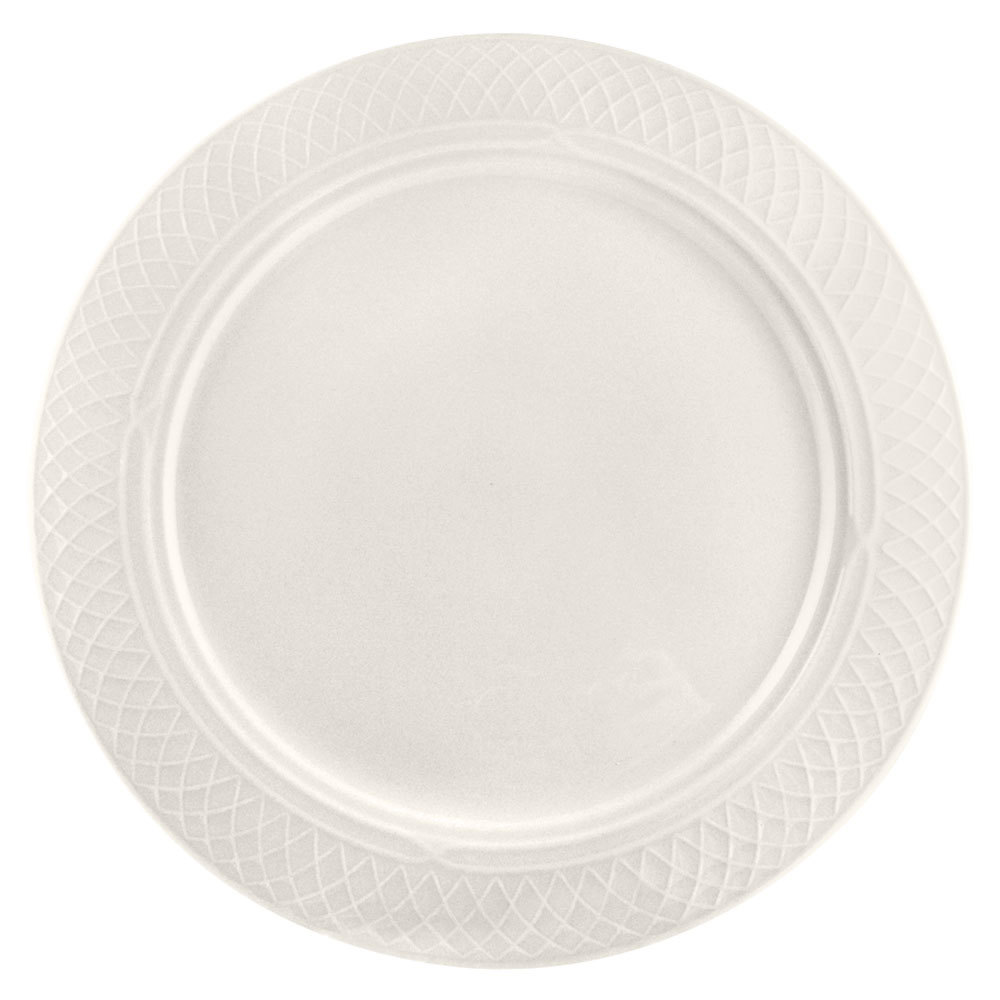 "Homer Laughlin 3407000 Gothic 11 1/8"" Ivory (American White) China Plate - 12/Case"