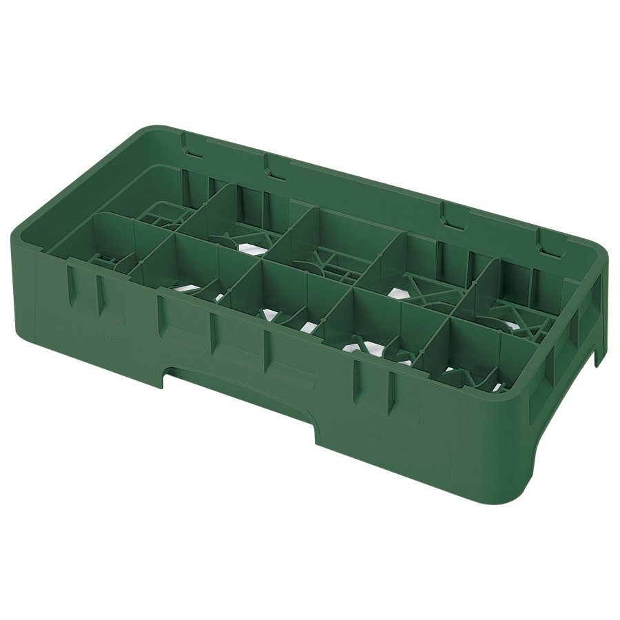 "Cambro 10HS638119 Sherwood Green Camrack 10 Compartment 6 7/8"" Half Size Glass Rack"