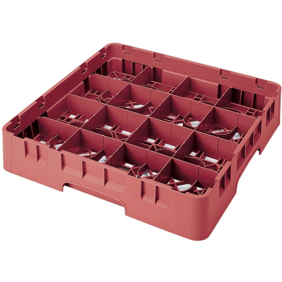 "Cambro 16S1214416 Camrack 12 5/8"" High Customizable Cranberry 16 Compartment Glass Rack"