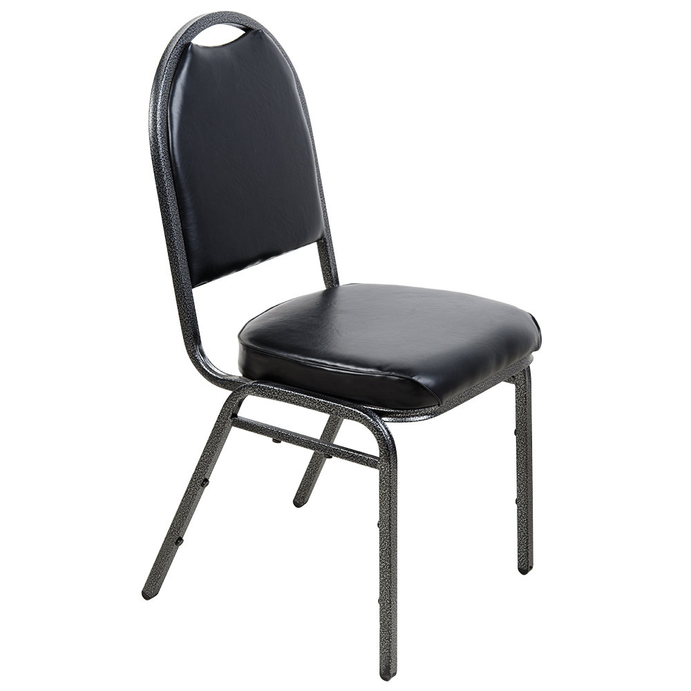 "Lancaster Table & Seating Black Stackable Banquet Chair with 2"" Padd"