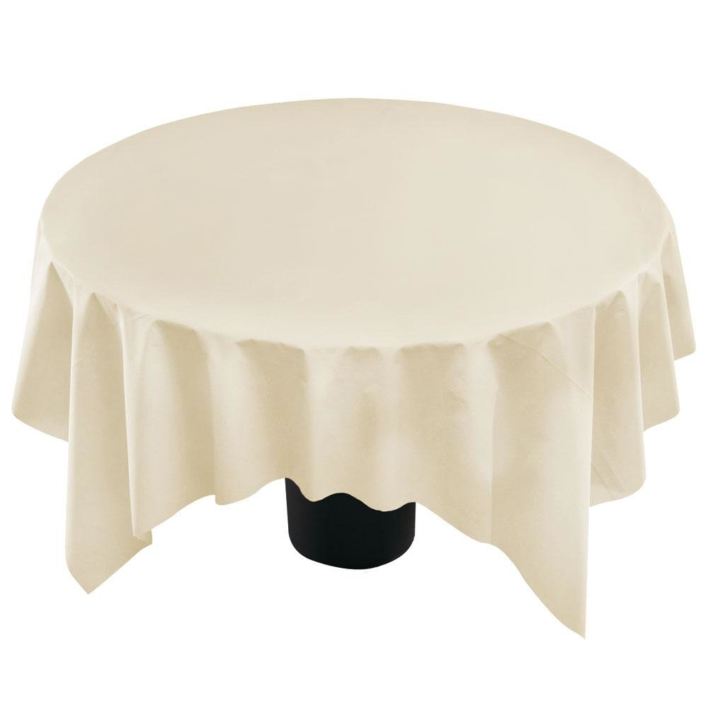 "Hoffmaster 210434 82"" x 82"" Linen-Like Ecru / Ivory Table Cover - 12/Case"
