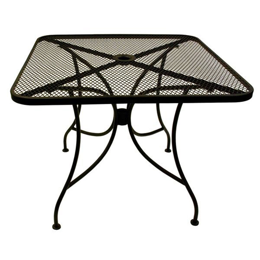 american tables seating alm3030 30 x 30 square mesh top outdoor table with umbrella hole. Black Bedroom Furniture Sets. Home Design Ideas