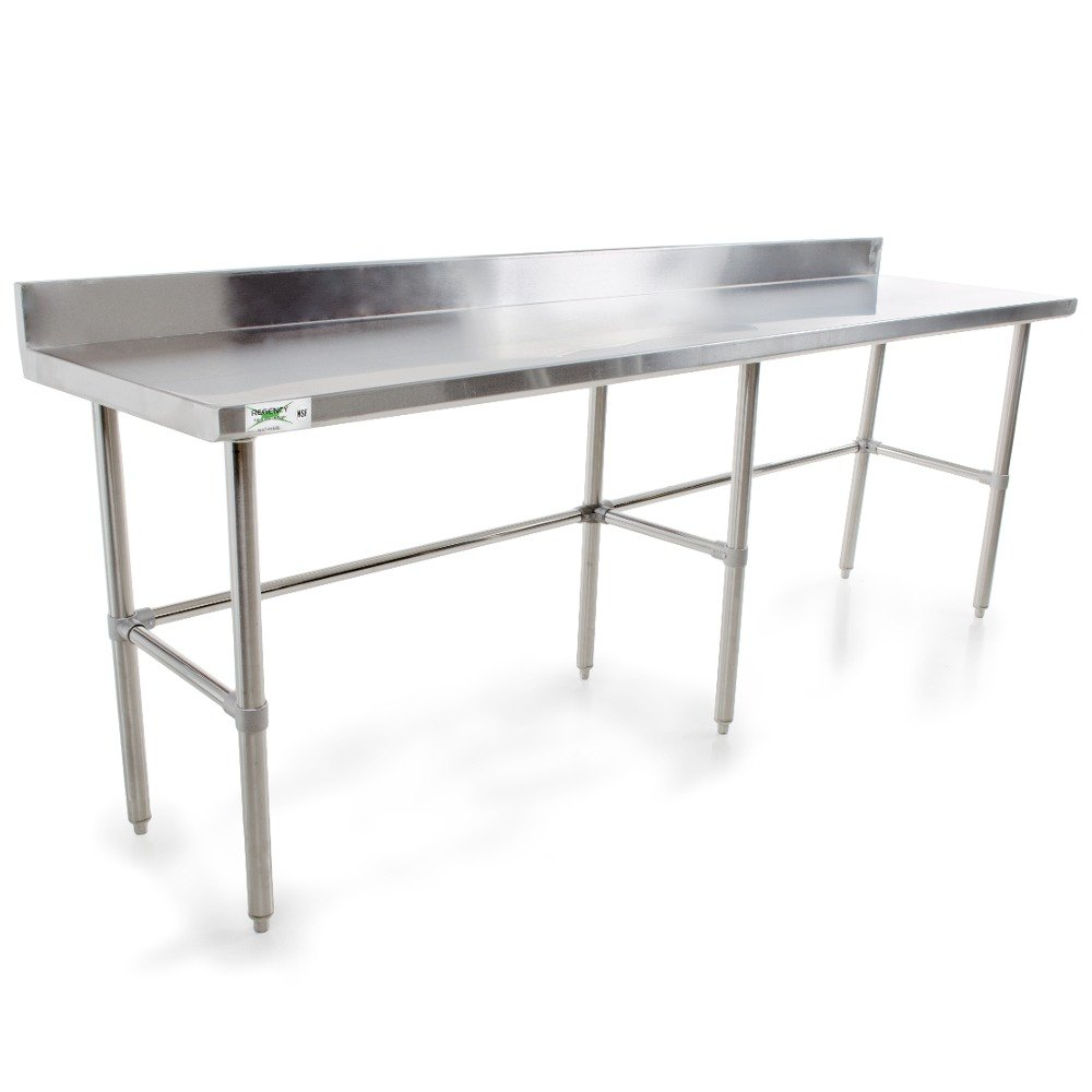 Regency 16 Gauge Stainless Steel Commercial Open Base Work Table 24 inch x 120 inch with Backsplash