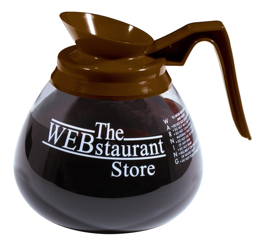 WEBstaurant Store Logo Glass Coffee Decanter with Brown Handle