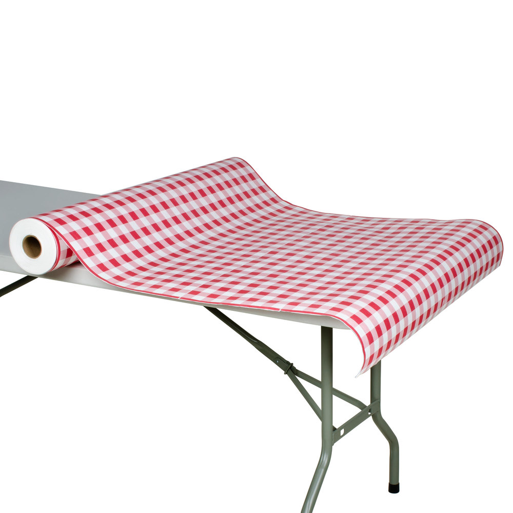 "40"" x 300' Paper Table Cover with Red Gingham Pattern"