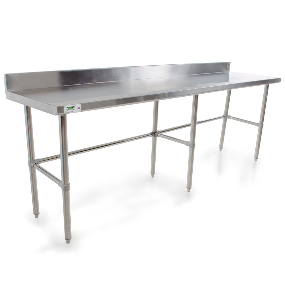 Regency 16 Gauge 30 inch x 120 inch Stainless Steel Commercial Open Base Work Table with Backsplash