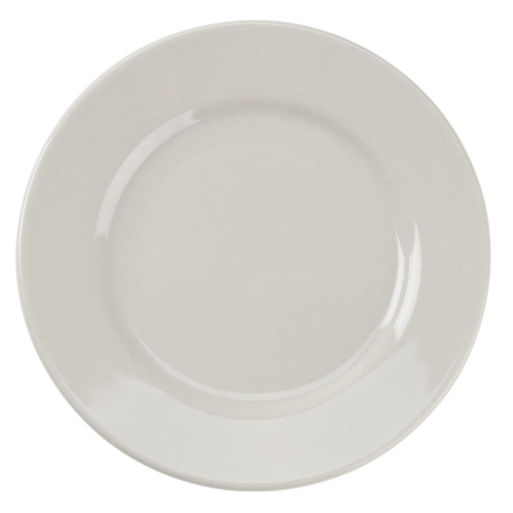 American White (Ivory / Eggshell) Wide Rim 5 1/2 inch Rolled Edge China Plate - 36 / Case