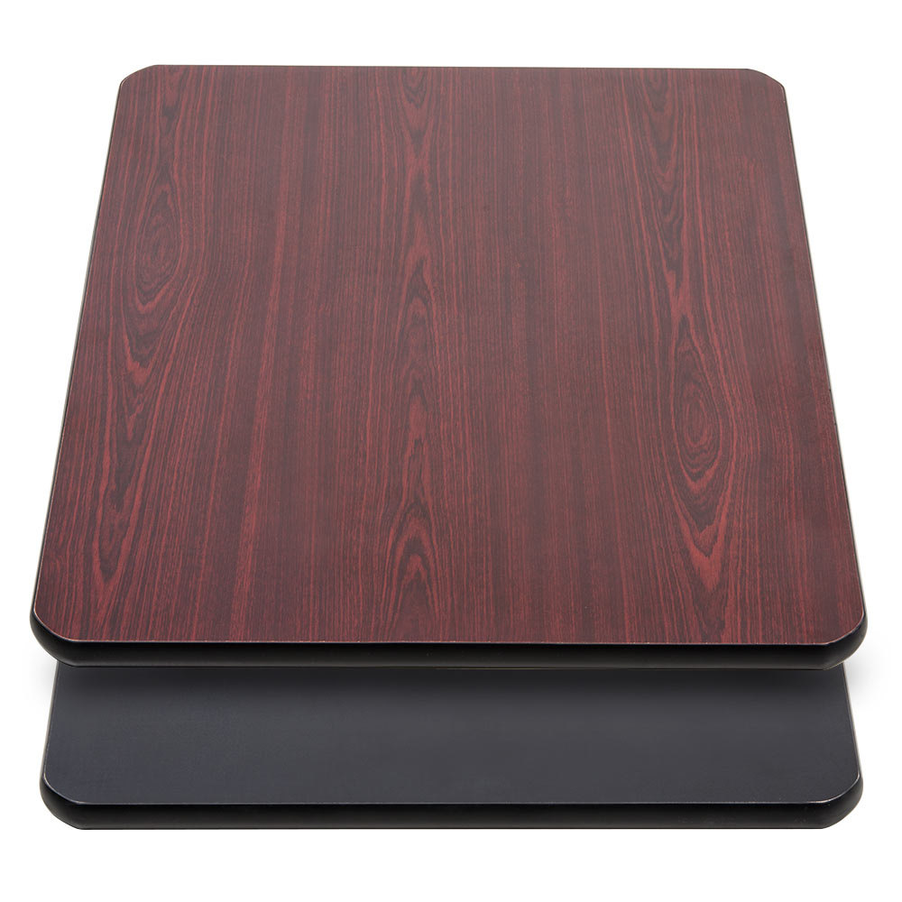 "Lancaster Table & Seating 24"" x 30"" Laminated Rectangular Table Top Reversible Cherry / Black"