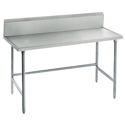 "Advance Tabco TVKG-245 24"" x 60"" 14 Gauge Open Base Stainless Steel Commercial Work Table with 10"" Backsplash"