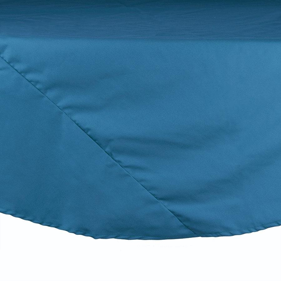 90 inch Round Light Blue 100% Polyester Hemmed Cloth Table Cover