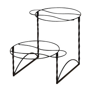 American Metalcraft TLTS1224 Two-Tier Wrought Iron Plate Stand