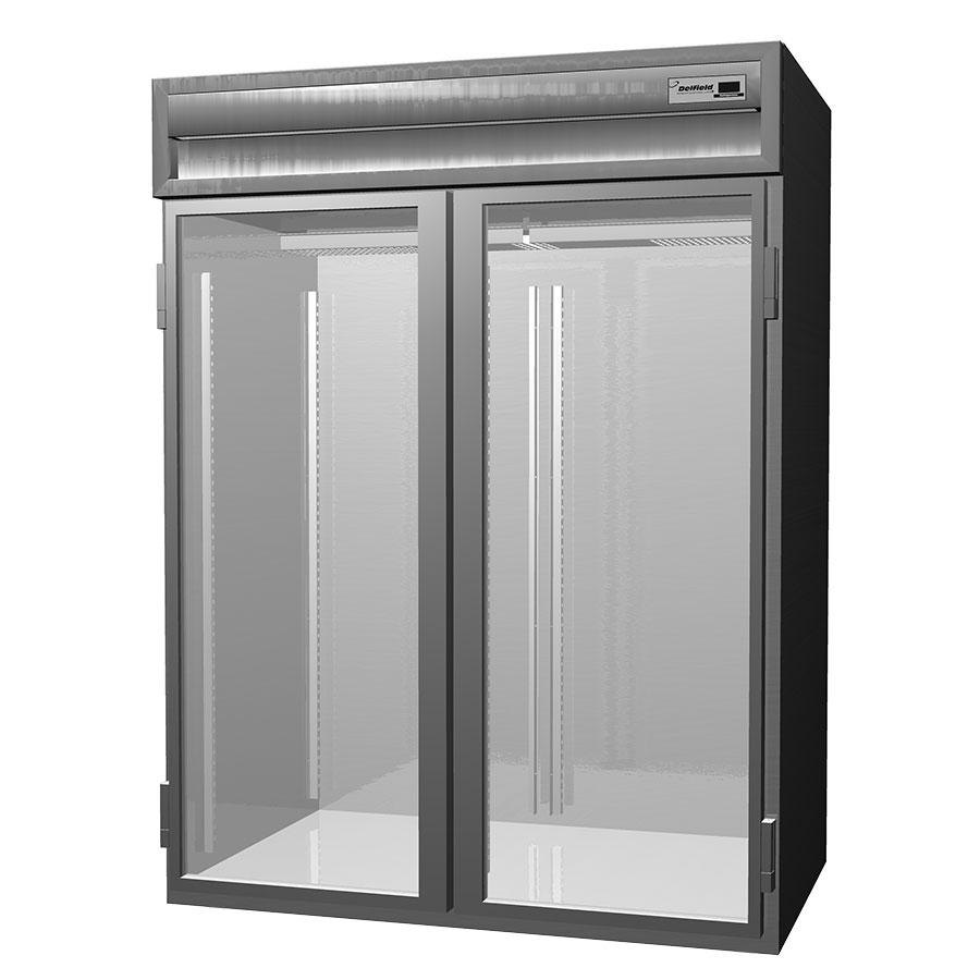 Delfield Stainless Steel SSHRI2-G 74.72 Cu. Ft. Two Section Glass Door Roll In Heated Holding Cabinet - Specification Line
