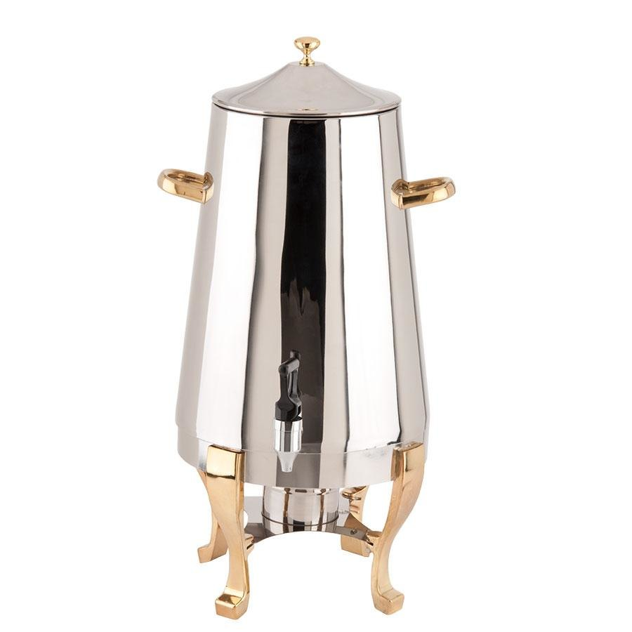 Choice Deluxe Stainless Steel Coffee Chafer Urn with Gold Accents - 5 Gallon