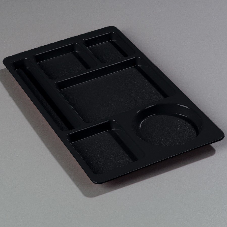 "Carlisle 615 Space Saver 9"" x 15"" Black 6 Compartment Tray - ABS Plastic at Sears.com"