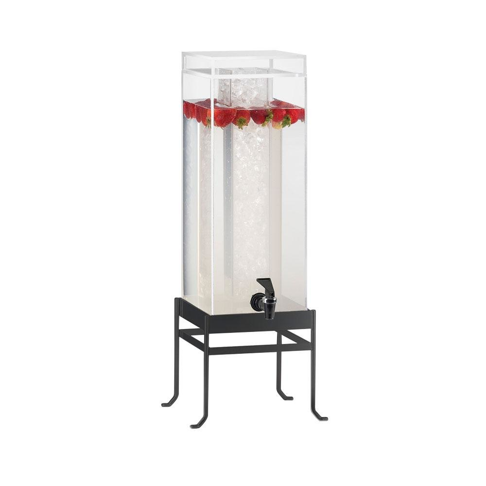 Cal Mil 1578-1-13 Black Soho 1.5 Gallon Square Acrylic Beverage Dispenser - 10 inch x 9 3/4 inch x 17 3/4 inch