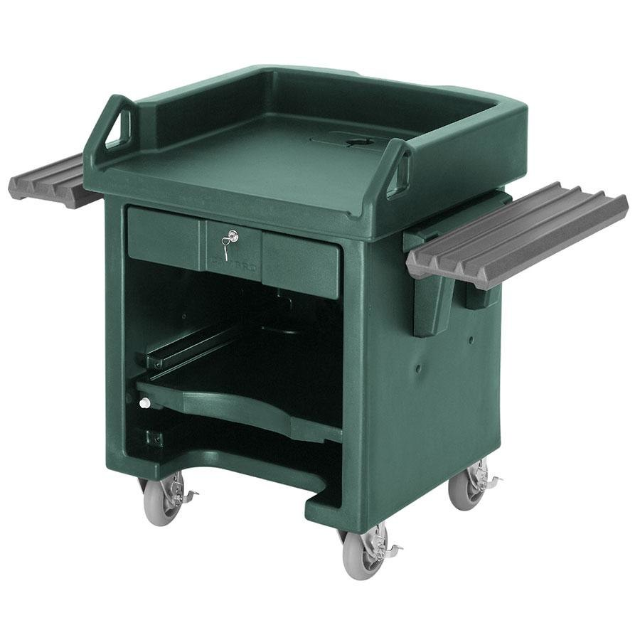 Cambro VCSWRHD519 Green Versa Cart with Dual Tray Rails and Heavy Duty Casters